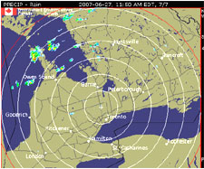 Weather radar graphic for station WKR located near Toronto, Ontario.